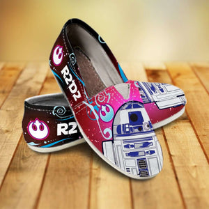 Designs by MyUtopia Shout Out:R2-D2 Casual Canvas Slip on Shoes Women's Flats - Blue / Pink