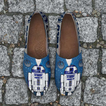 Load image into Gallery viewer, Designs by MyUtopia Shout Out:R2-D2 Casual Canvas Slip on Shoes Women's Flats - Blue/Grey,Ladies US6 (EU36) / Blue/Grey,Slip on Flats