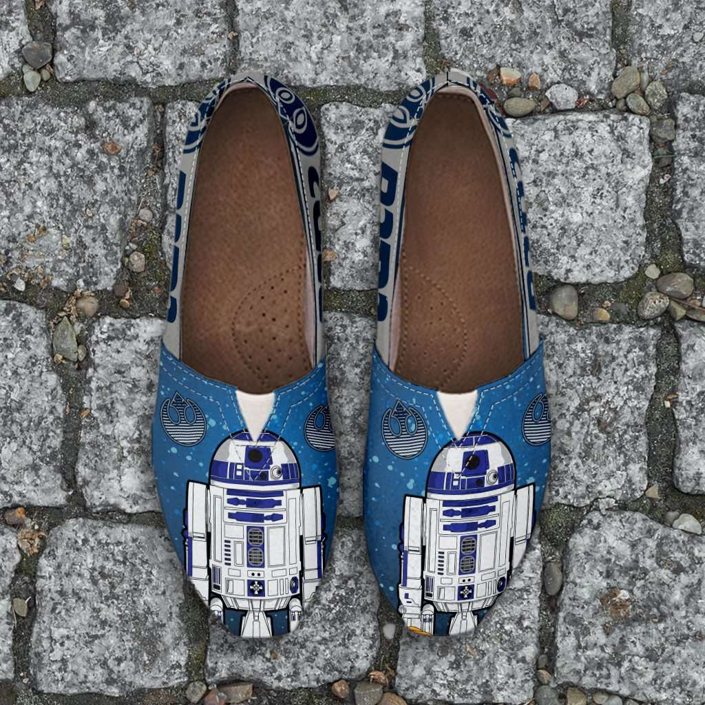 Designs by MyUtopia Shout Out:R2-D2 Casual Canvas Slip on Shoes Women's Flats - Blue/Grey,Ladies US6 (EU36) / Blue/Grey,Slip on Flats