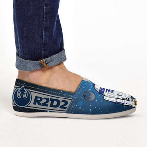 Designs by MyUtopia Shout Out:R2-D2 Casual Canvas Slip on Shoes Women's Flats - Blue/Grey