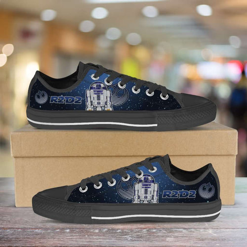 Designs by MyUtopia Shout Out:R2-D2 Lowtops Blue Grey,Men's / Mens US5 (EU38) / Blue/Grey,Lowtop Shoes