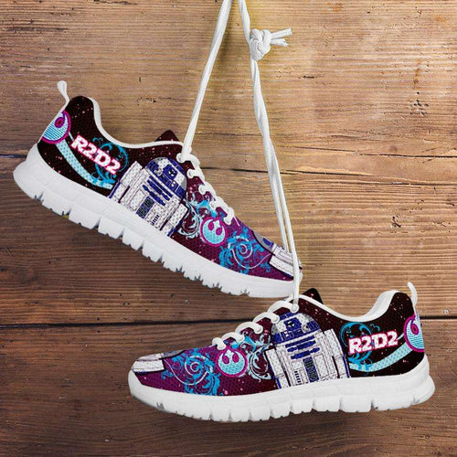 Designs by MyUtopia Shout Out:R2-D2 Running Shoes - Blue / Pink,Kid's / 11 CHILD (EU28) / Blue/Pink,Running Shoes
