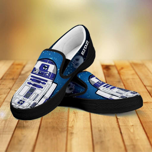 Designs by MyUtopia Shout Out:R2-D2 Slip-on Shoes Blue / Grey,Men's / Mens US8 (EU40) / Blue / Grey,Slip on sneakers