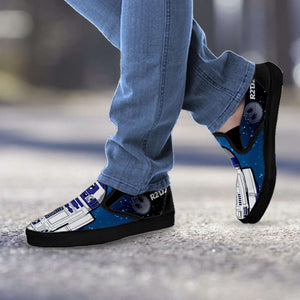 Designs by MyUtopia Shout Out:R2-D2 Slip-on Shoes Blue / Grey