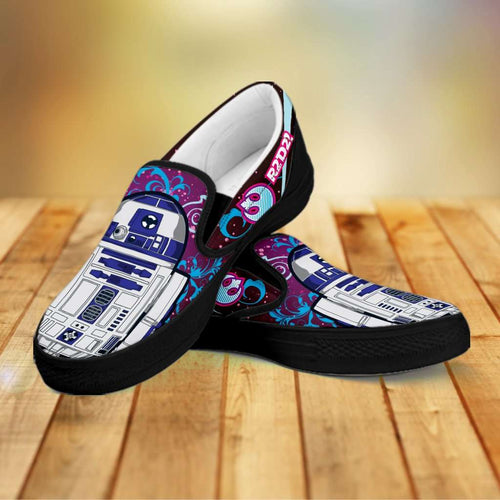 Designs by MyUtopia Shout Out:R2-D2 Slip-on Shoes Blue / Pink,Men's / Mens US8 (EU40) / Blue/Pink,Slip on sneakers