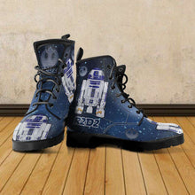 Load image into Gallery viewer, Designs by MyUtopia Shout Out:R2-D2 Vegan Leather Boots Blue / Grey,Men's / Mens US5 (EU38) / Blue/Grey,Lace-up Boots