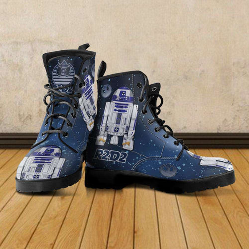 Designs by MyUtopia Shout Out:R2-D2 Vegan Leather Boots Blue / Grey,Men's / Mens US5 (EU38) / Blue/Grey,Lace-up Boots