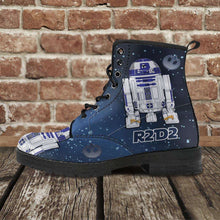 Load image into Gallery viewer, Designs by MyUtopia Shout Out:R2-D2 Vegan Leather Boots Blue / Grey