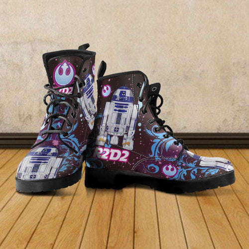 Designs by MyUtopia Shout Out:R2-D2 Vegan Leather Boots Blue / Pink,Men's / Mens US5 (EU38) / Blue/Pink,Lace-up Boots