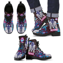 Load image into Gallery viewer, Designs by MyUtopia Shout Out:R2-D2 Vegan Leather Boots Blue / Pink