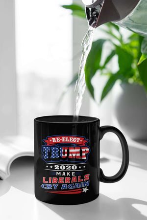 Designs by MyUtopia Shout Out:Re-elect Trump Make Liberals Cry Ceramic Coffee Mug - Black