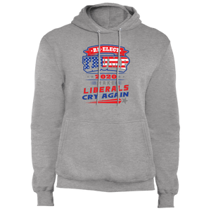 Designs by MyUtopia Shout Out:Re-Elect Trump Make Liberals Cry Core Fleece Pullover Hoodie,Athletic Heather / S,Pullover Hoodie