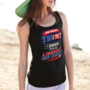 Designs by MyUtopia Shout Out:Re-Elect Trump Make Liberals Cry Cotton Unisex Tank Top