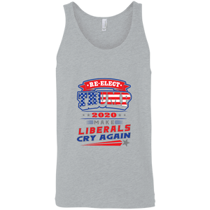 Designs by MyUtopia Shout Out:Re-Elect Trump Make Liberals Cry Cotton Unisex Tank Top,Athletic Heather / X-Small,Tank Tops