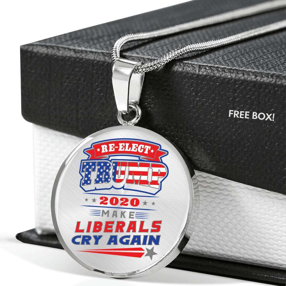 Designs by MyUtopia Shout Out:Re-elect Trump Make Liberals Cry Engravable Keepsake Round Pendant Necklace
