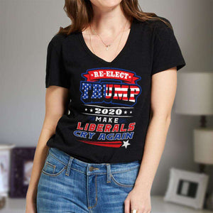 Designs by MyUtopia Shout Out:Re-Elect Trump Make Liberals Cry Ladies' V-Neck T-Shirt