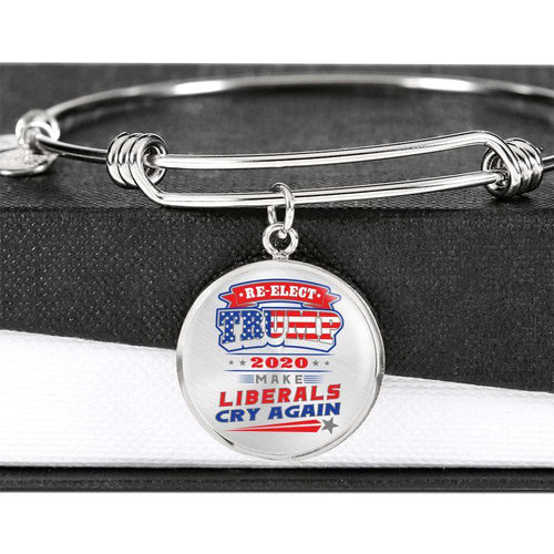 Designs by MyUtopia Shout Out:Re-elect Trump Make Liberals Cry Personalized Engravable Keepsake Bangle Bracelet,Silver / No,Bracelets