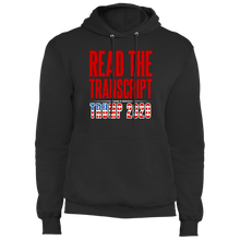 Load image into Gallery viewer, Designs by MyUtopia Shout Out:Read The Transcript Trump 2020 Core Fleece Pullover Hoodie,S / Jet Black,Pullover Hoodie