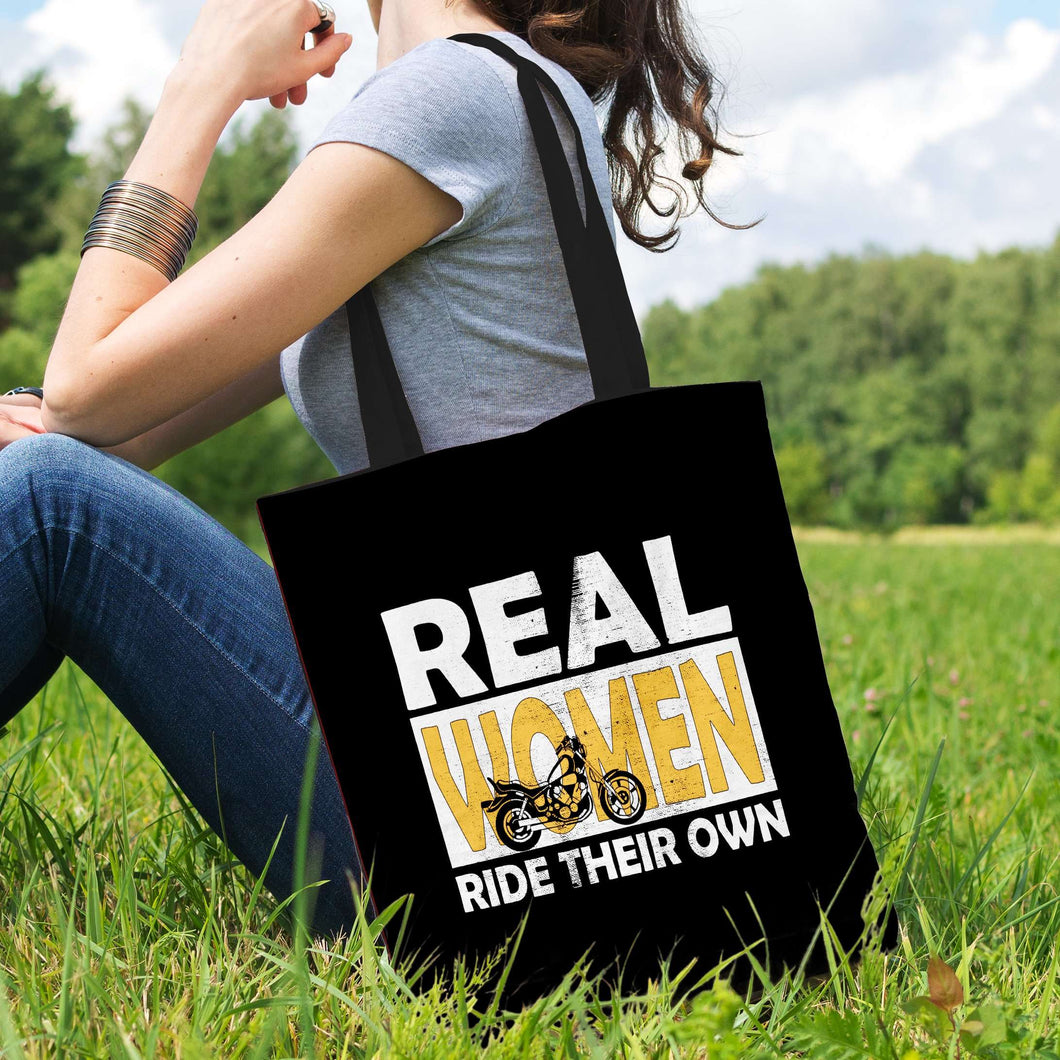 Designs by MyUtopia Shout Out:Real Women Ride Their Own Bike Fabric Totebag Reusable Shopping Tote