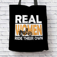 Load image into Gallery viewer, Designs by MyUtopia Shout Out:Real Women Ride Their Own Bike Fabric Totebag Reusable Shopping Tote