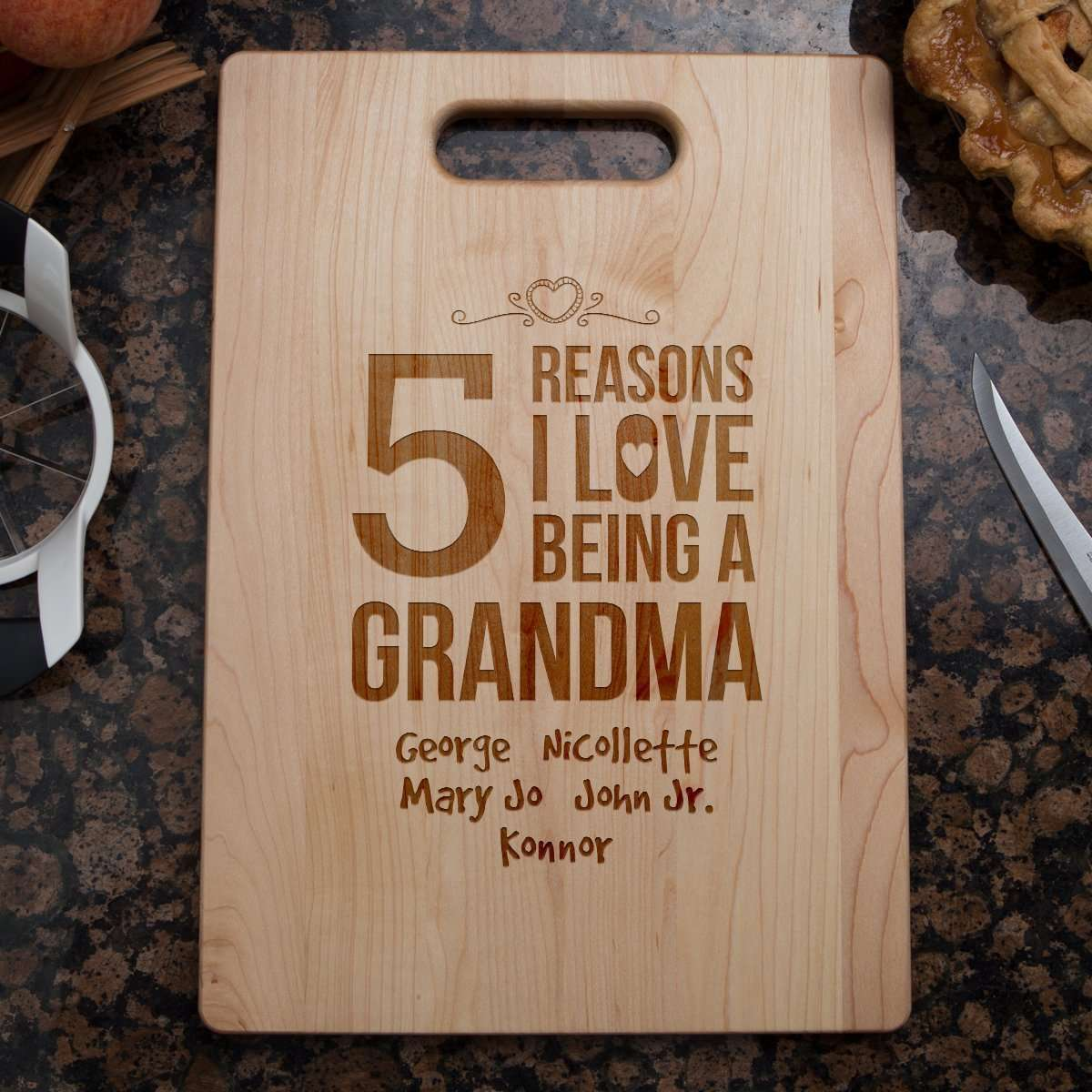 Designs by MyUtopia Shout Out:Reasons I Love Being a Grandma Personalized With Kids Names Engraved Maple Cutting Board,🌟  Best Value 9 3/4″ X 13.5″,Cutting Board