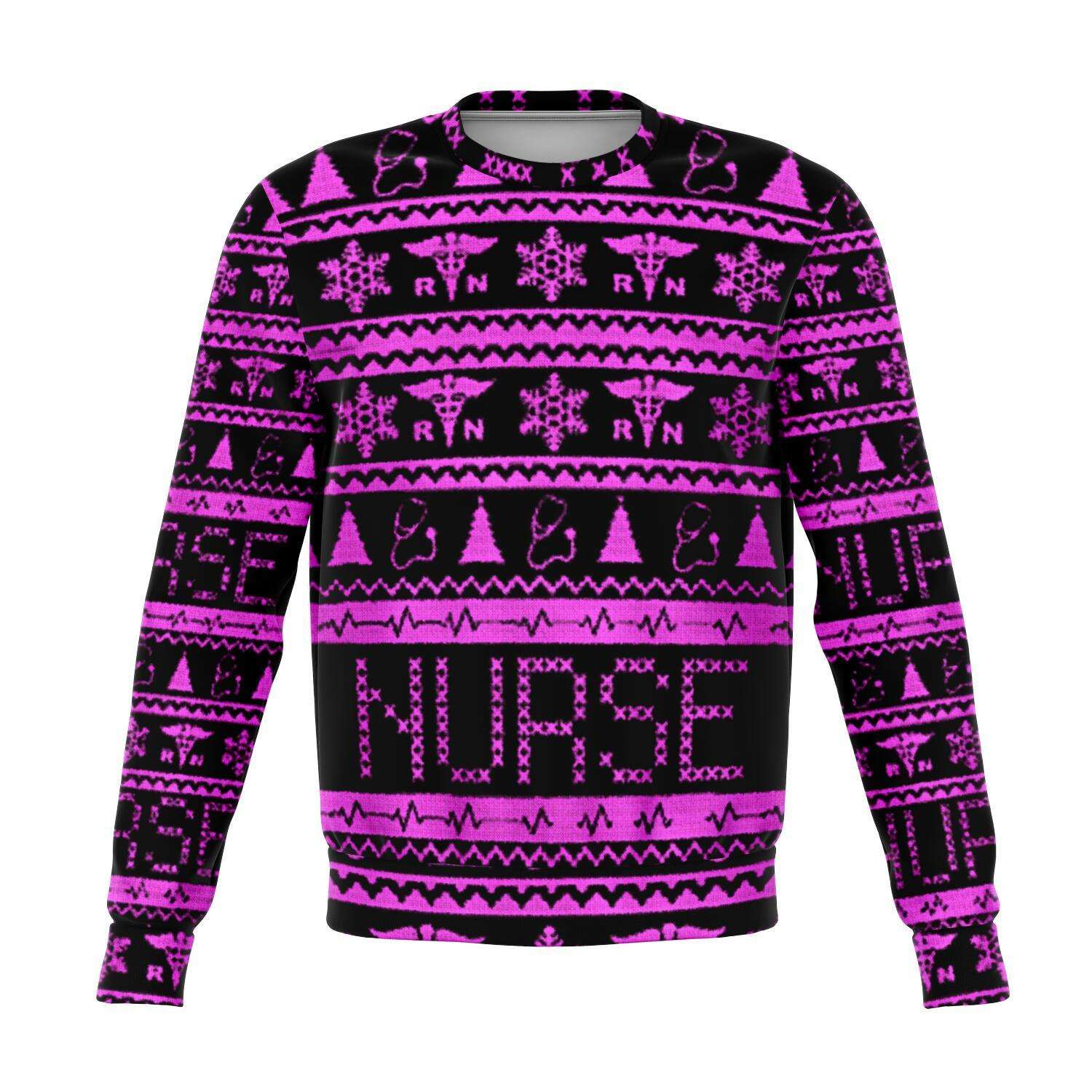 Designs by MyUtopia Shout Out:Registered Nurse 3D Ugly Christmas Sweater Style Fashion Sweatshirt,XS / Pink/Black,Fashion Sweatshirt - AOP