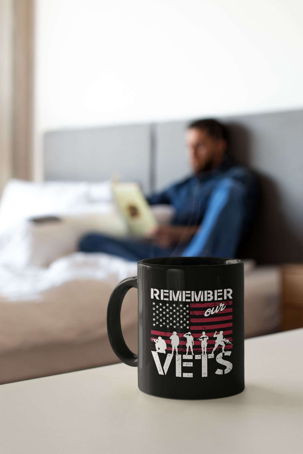 Designs by MyUtopia Shout Out:Remember Our Veterans Ceramic Coffee Mug - Black