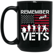 Load image into Gallery viewer, Designs by MyUtopia Shout Out:Remember Our Veterans Ceramic Coffee Mug - Black,15 oz / Black,Ceramic Coffee Mug