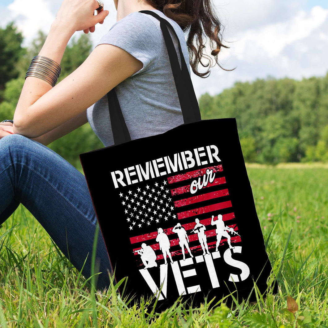 Designs by MyUtopia Shout Out:Remember Our Veterans Fabric Totebag Reusable Shopping Tote