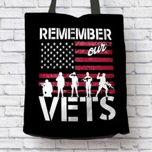 Load image into Gallery viewer, Designs by MyUtopia Shout Out:Remember Our Veterans Fabric Totebag Reusable Shopping Tote