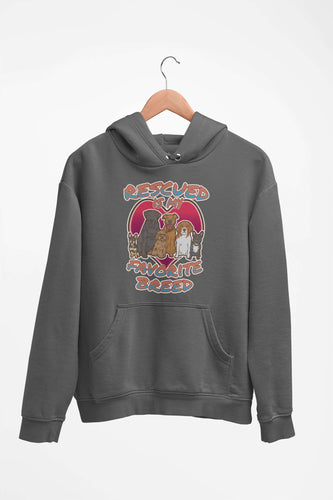 Designs by MyUtopia Shout Out:Rescued is my Favorite Dog Breed Core Fleece Pullover Hoodie