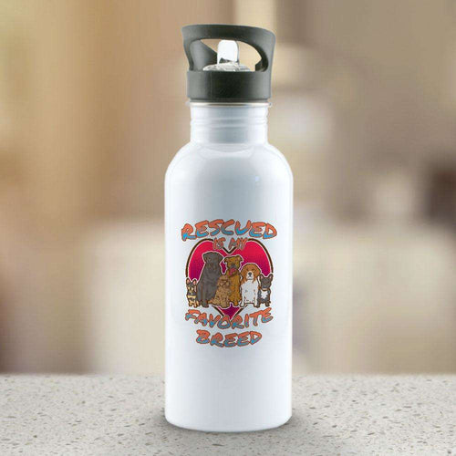 Designs by MyUtopia Shout Out:Rescued Is My Favorite Dog Breed Water Bottles