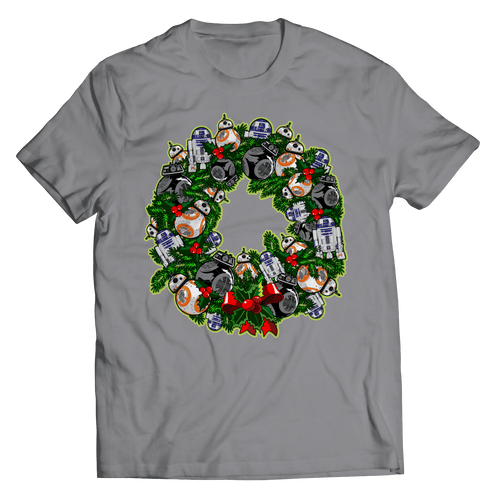Designs by MyUtopia Shout Out:Ringing In a Droid Christmas - T Shirt,Short Sleeve Tee / Grey / Small,Adult Unisex T-Shirt