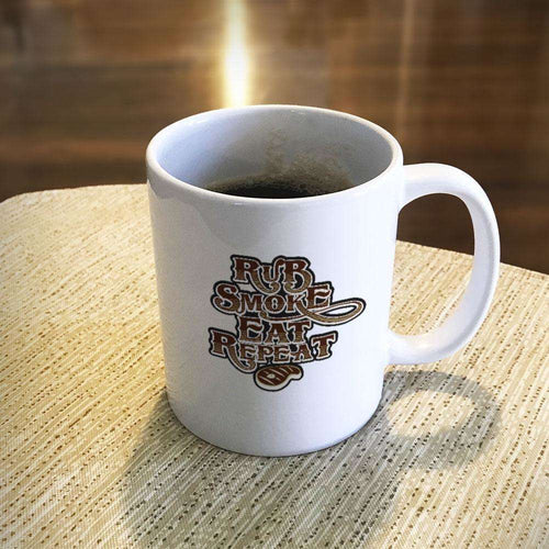 Designs by MyUtopia Shout Out:Rub Smoke Eat Repeat Ceramic Coffee Mug - White