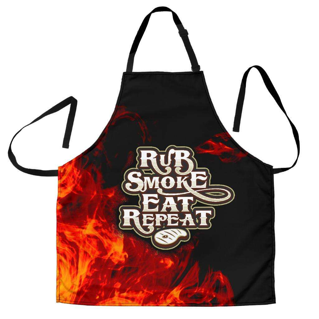 Designs by MyUtopia Shout Out:Rub Smoke Eat Repeat Funny Apron, Kitchen, Baking, BBQ, Grilling,Men's Apron / Universal Fit,Apron