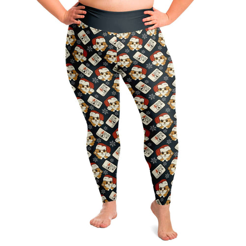 Designs by MyUtopia Shout Out:Santa Corgi Christmas Animal Print Plus Size Ladies Fashion Leggings,2XL,Plus Size Legging - AOP