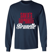 Load image into Gallery viewer, Designs by MyUtopia Shout Out:Santa's Favourite Brunette - Ultra Cotton Long Sleeve T-Shirt,Navy / S,Long Sleeve T-Shirts