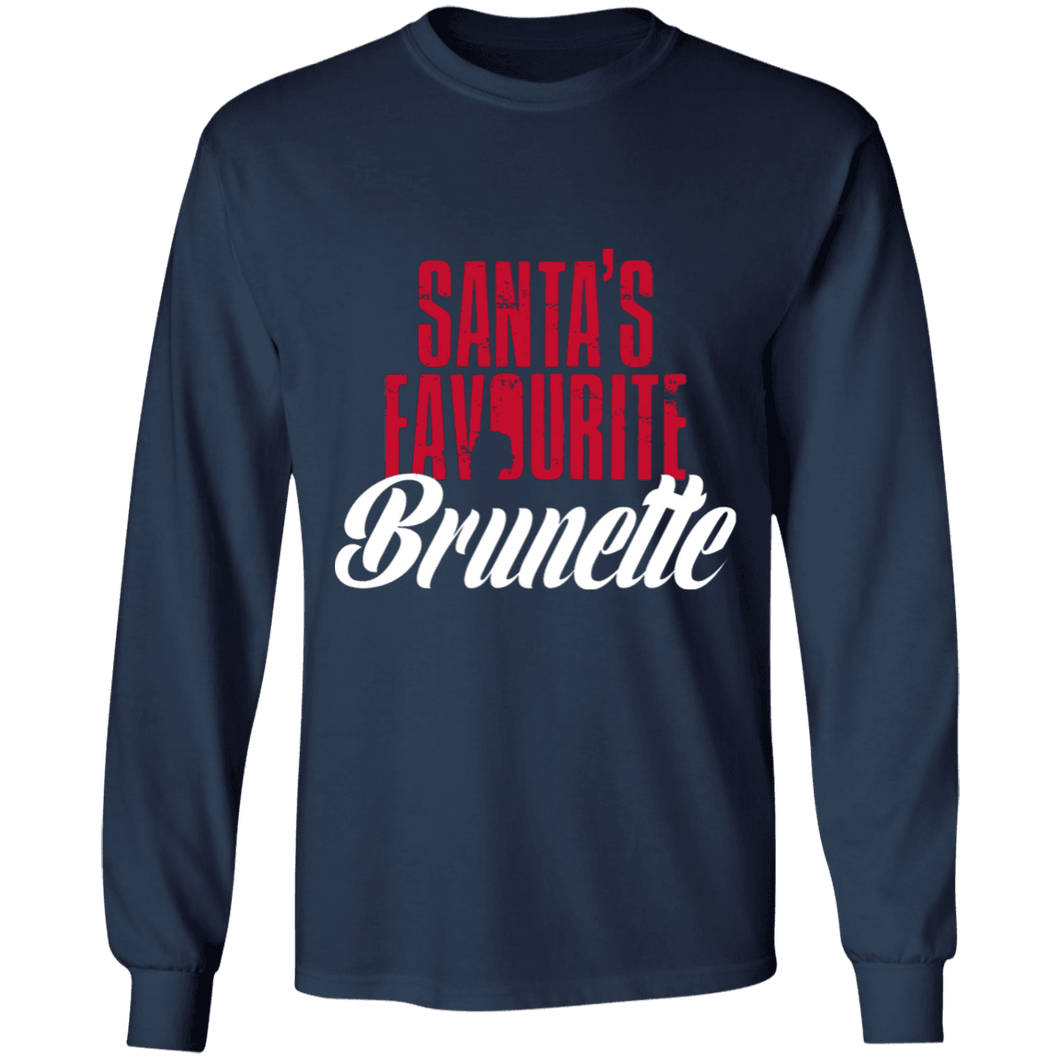 Designs by MyUtopia Shout Out:Santa's Favourite Brunette - Ultra Cotton Long Sleeve T-Shirt,Navy / S,Long Sleeve T-Shirts