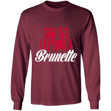 Load image into Gallery viewer, Designs by MyUtopia Shout Out:Santa's Favourite Brunette - Ultra Cotton Long Sleeve T-Shirt,Maroon / S,Long Sleeve T-Shirts