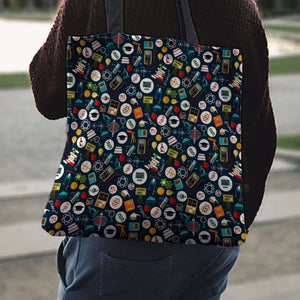 Designs by MyUtopia Shout Out:School Images all over print Teacher Fabric Totebag Reusable Shopping Tote