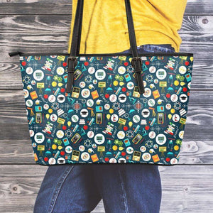 Designs by MyUtopia Shout Out:School Images all over print Teacher Faux Leather Totebag Purse,Medium (10 x 16 x 5) / Green/Multi,tote bag purse