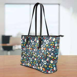Designs by MyUtopia Shout Out:School Images all over print Teacher Faux Leather Totebag Purse
