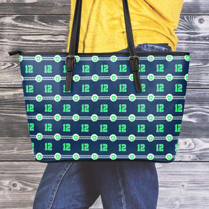 Designs by MyUtopia Shout Out:Seattle Nurse Faux Leather Totebag Purse,Medium (10 x 16 x 5) / Dark Green/Lime,tote bag purse