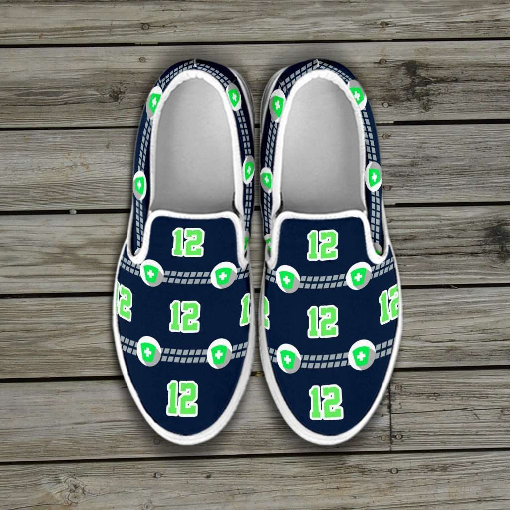 Designs by MyUtopia Shout Out:Seattle Nurse Slip-on Shoes,Woman's / Woman's US6 (EU36) / Dark Green/Lime,Slip on sneakers
