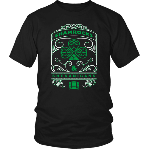 Designs by MyUtopia Shout Out:Shamrocks And Shenanigans T-shirt,Black / S,Adult Unisex T-Shirt