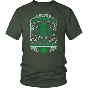 Designs by MyUtopia Shout Out:Shamrocks And Shenanigans T-shirt,Olive / S,Adult Unisex T-Shirt