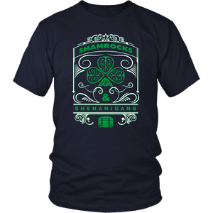 Designs by MyUtopia Shout Out:Shamrocks And Shenanigans T-shirt,Navy / S,Adult Unisex T-Shirt