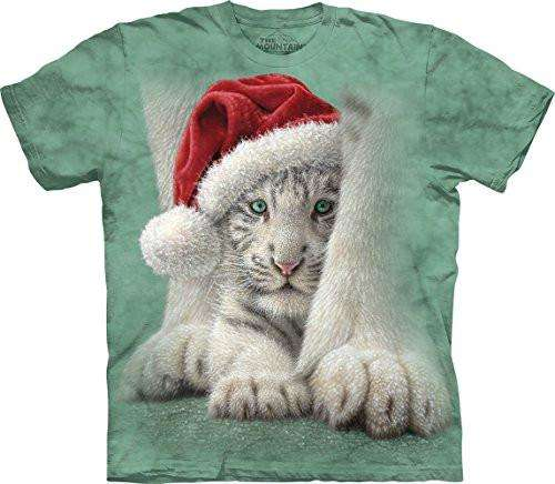 Designs by MyUtopia Shout Out:Sheltered Christmas Tiger Cub and Mom,Short Sleeve / Small / Green,Adult Unisex T-Shirt