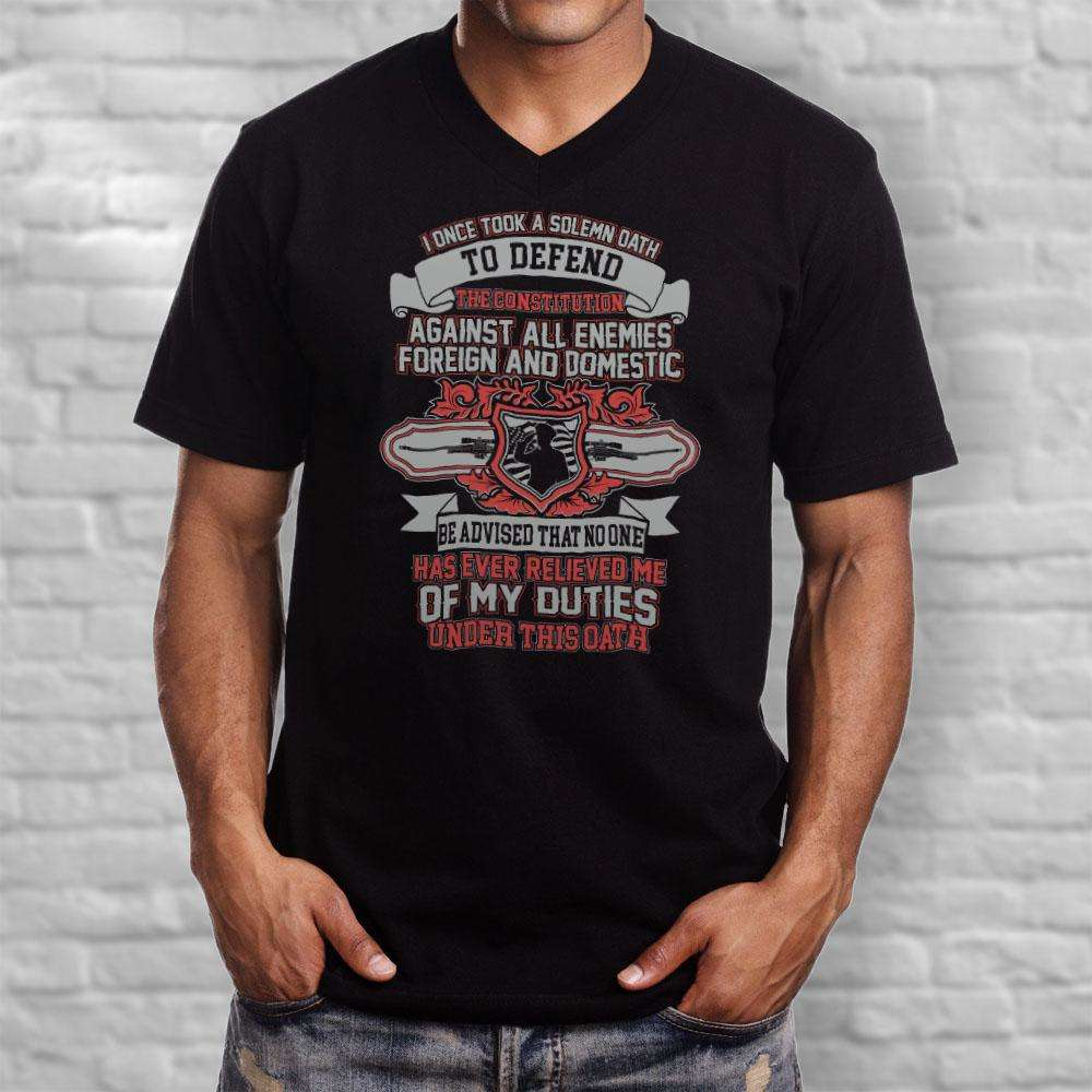 Designs by MyUtopia Shout Out:Solemn Oath of A Veteran Men's Printed V-Neck T-Shirt