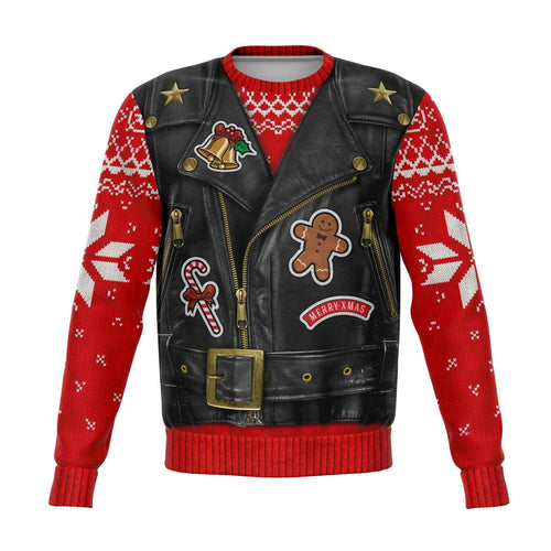 Designs by MyUtopia Shout Out:Sons of Santa Biker Vest Funny Christmas Fleece Lined Sweatshirt,XS / Multi,Fashion Sweatshirt - AOP